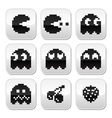 Pacman ghosts 8bit retro game buttons set vector