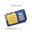 Falkland islands mobile phone sim card with flag vector