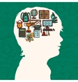 Boy silhouette with education icons vector
