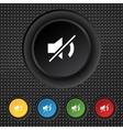 Mute speaker sign icon sound symbol set colourful vector
