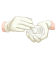 Hands pharmacist with a pestle and mortar vector