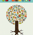 Education icons pencil tree vector