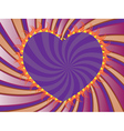 Purple rays background with heart vector