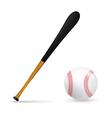 Bat and ball for baseball vector