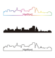 Hartford skyline linear style with rainbow vector