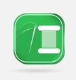 Spool of thread and needle color square icon vector