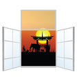 Window with elephani in the background vector