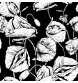 Monochrome seamless floral background with poppy vector
