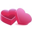Pink heart shaped open box vector
