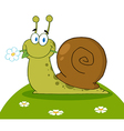 Snail with a flower in its mouth on a hill vector