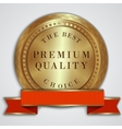 Round golden badge label with red ribbon and text vector
