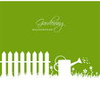Gardening scene with watering can near fence on vector