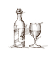 Hand drawn of a bottle of wine with a glass vector