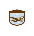 Dc10 propeller airplane flying shield retro vector