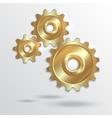 Metallic golden cogwheels vector