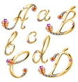 Bronze alphabet with colored gems letters abcd vector