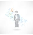 Music man grunge icon vector
