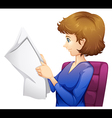A lady reading a newspaper vector
