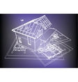 Wireframe building over blueprint vector