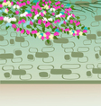 Greeting card with ribbon and flowers vector