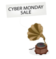 A vintage gramophone playing cyber monday news vector