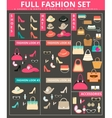 Full womens fashion collection of bags shoes hats vector