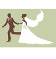 Elegant bride and groom running vector