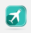 Airplane color square icon vector