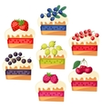 Set of cakes with various filling vector
