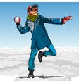 Cartoon guy hipster playing snowballs in winter vector