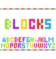 Multicolored blocks alphabet vector