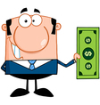 Business man holding a dollar bill vector
