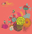 Bright background with flowers and birds vector
