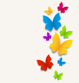 Spring card with butterflies colorful composition vector