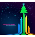 Rainbow arrows background with christmas tree on vector