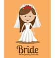 Wedding design over orange background vector