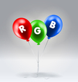 Red green and blue inflatable balloons vector