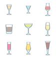 Color outline alcohol glasses icon set vector