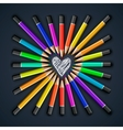 Colored pencils heart shape vector