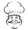 Smiling chef with a large curly moustache vector