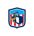 Forklift truck materials logistics shield retro vector
