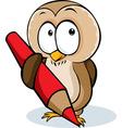 Cute owl hold pencil cartoon - isolated on w vector