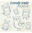 Cartoon owl stylish sticker doodle set collection vector
