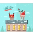 Winter background santa on the roof vector