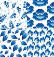 Set of 4 seamless patterns vintage folk flowers vector