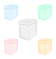 Group colorful closed unprinted boxes vector