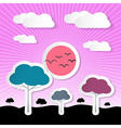 Paper nature background with trees clouds and sun vector