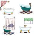 Bathtubs cartoon style bathroom interior element vector