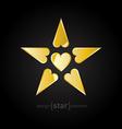 Golden valentines day star vector