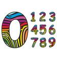 Background colored skin zebra shaped number vector